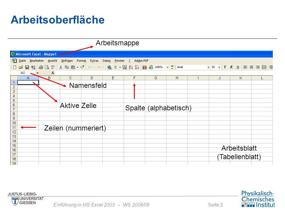 Seite 2Einführung in MS Excel 2003 -- WS 2008/09 Arbeitsoberfläche Aktive Zelle Namensfeld Zeilen (nummeriert) Spalte (alphabetisch) Arbeitsblatt (Tab