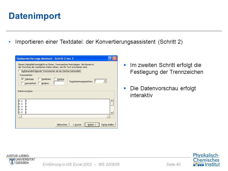 Seite 40Einführung in MS Excel 2003 -- WS 2008/09 Datenimport Importieren einer Textdatei: der Konvertierungsassistent (Schritt 2)  Im zweiten Schrit
