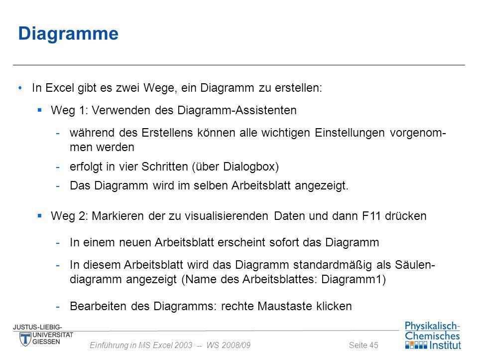 Seite 45Einführung in MS Excel 2003 -- WS 2008/09 Diagramme In Excel gibt es zwei Wege, ein Diagramm zu erstellen:  Weg 2: Markieren der zu visualisi