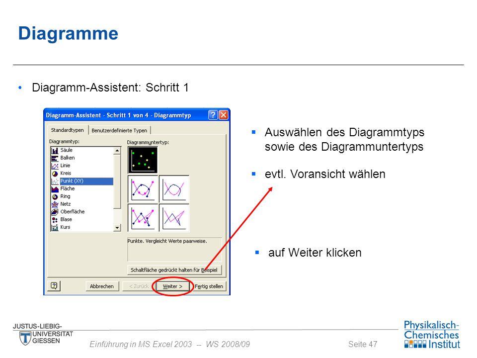 Seite 47Einführung in MS Excel 2003 -- WS 2008/09 Diagramme Diagramm-Assistent: Schritt 1  Auswählen des Diagrammtyps sowie des Diagrammuntertyps  e