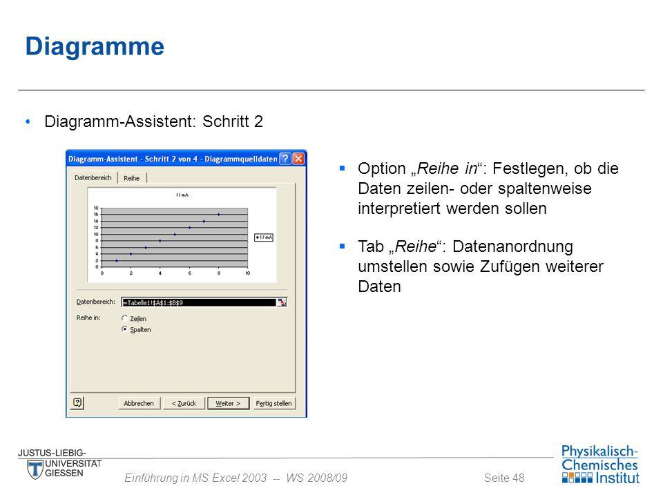 """Seite 48Einführung in MS Excel 2003 -- WS 2008/09 Diagramme Diagramm-Assistent: Schritt 2  Option """"Reihe in"""": Festlegen, ob die Daten zeilen- oder sp"""