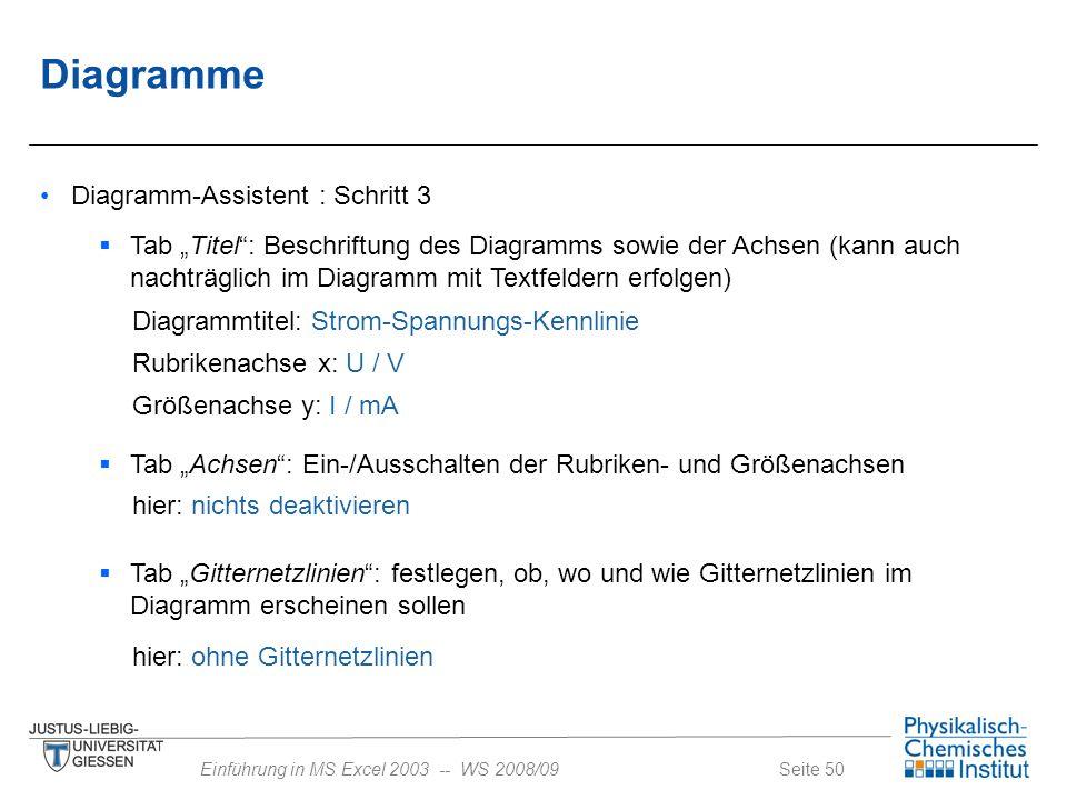 """Seite 50Einführung in MS Excel 2003 -- WS 2008/09 Diagramme Diagramm-Assistent : Schritt 3  Tab """"Titel"""": Beschriftung des Diagramms sowie der Achsen"""