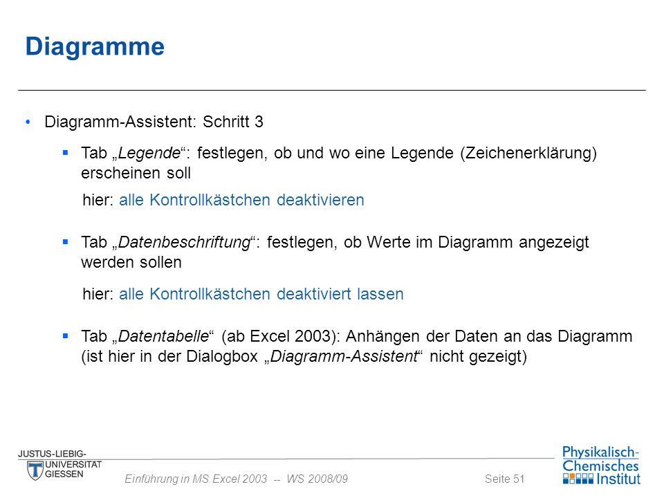 """Seite 51Einführung in MS Excel 2003 -- WS 2008/09 Diagramme Diagramm-Assistent: Schritt 3  Tab """"Legende"""": festlegen, ob und wo eine Legende (Zeichene"""