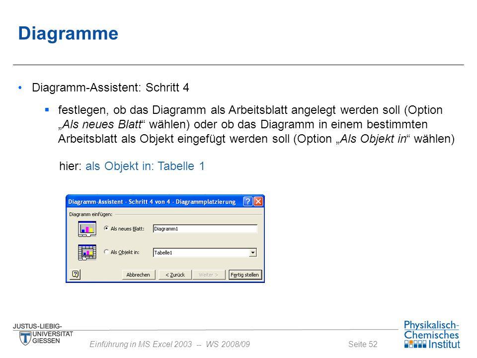 Seite 52Einführung in MS Excel 2003 -- WS 2008/09 Diagramme Diagramm-Assistent: Schritt 4  festlegen, ob das Diagramm als Arbeitsblatt angelegt werde