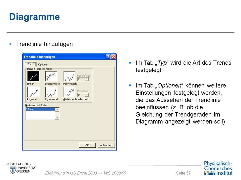 """Seite 57Einführung in MS Excel 2003 -- WS 2008/09 Diagramme Trendlinie hinzufügen  Im Tab """"Typ"""" wird die Art des Trends festgelegt  Im Tab """"Optionen"""