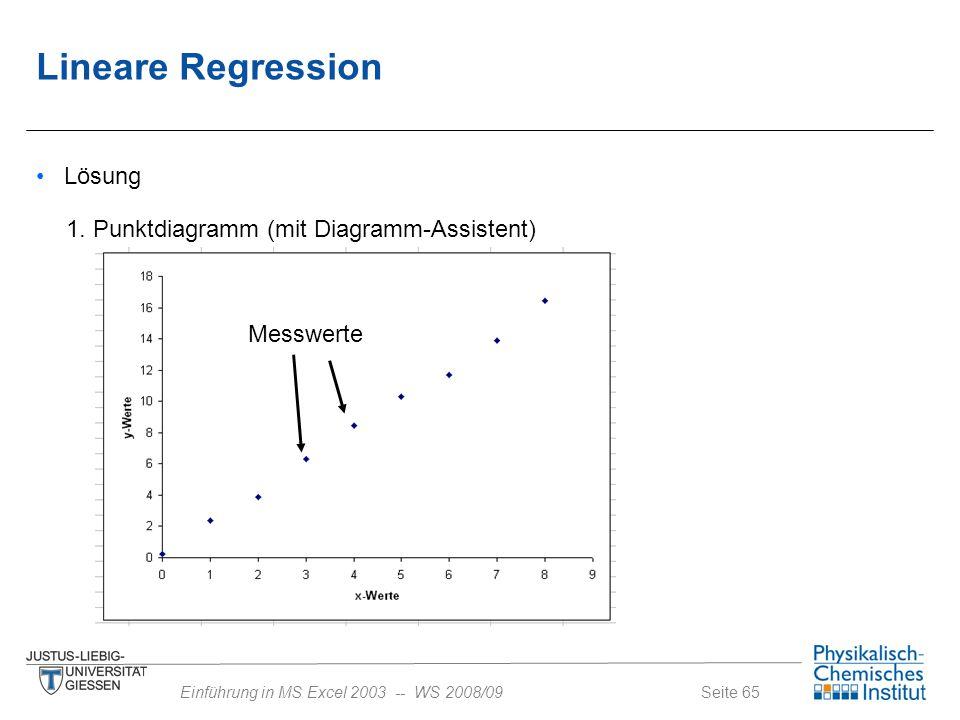 Seite 65Einführung in MS Excel 2003 -- WS 2008/09 Lösung 1. Punktdiagramm (mit Diagramm-Assistent) Messwerte Lineare Regression