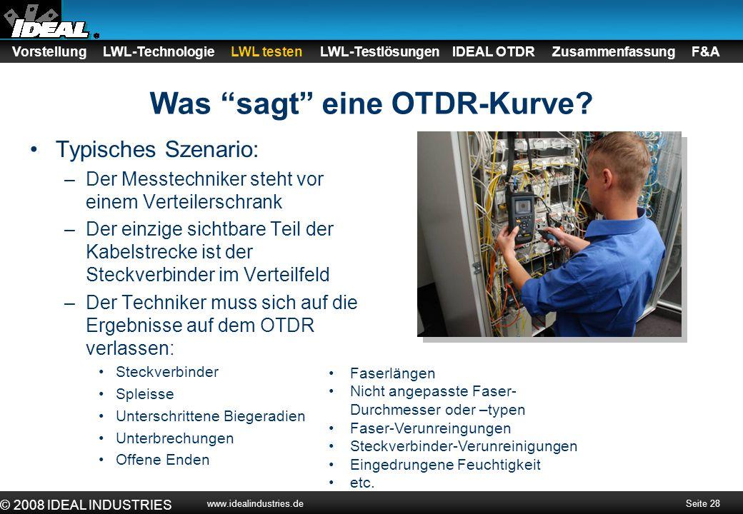 """Seite 28 © 2008 IDEAL INDUSTRIES www.idealindustries.de Was """"sagt"""" eine OTDR-Kurve? Vorstellung LWL-Technologie LWL testen LWL-Testlösungen IDEAL OTDR"""
