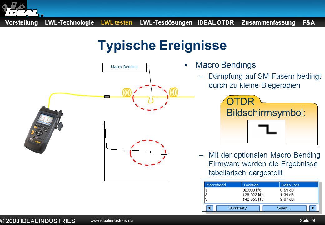 Seite 39 © 2008 IDEAL INDUSTRIES www.idealindustries.de Typische Ereignisse Vorstellung LWL-Technologie LWL testen LWL-Testlösungen IDEAL OTDR Zusamme