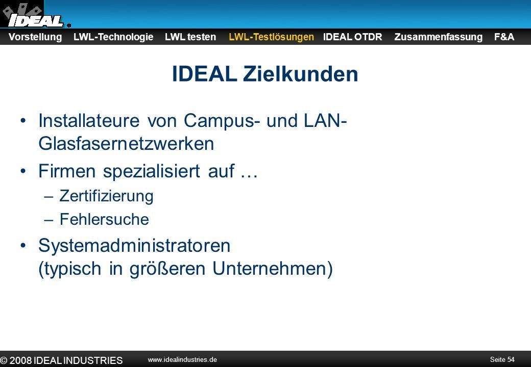Seite 54 © 2008 IDEAL INDUSTRIES www.idealindustries.de IDEAL Zielkunden Installateure von Campus- und LAN- Glasfasernetzwerken Firmen spezialisiert a