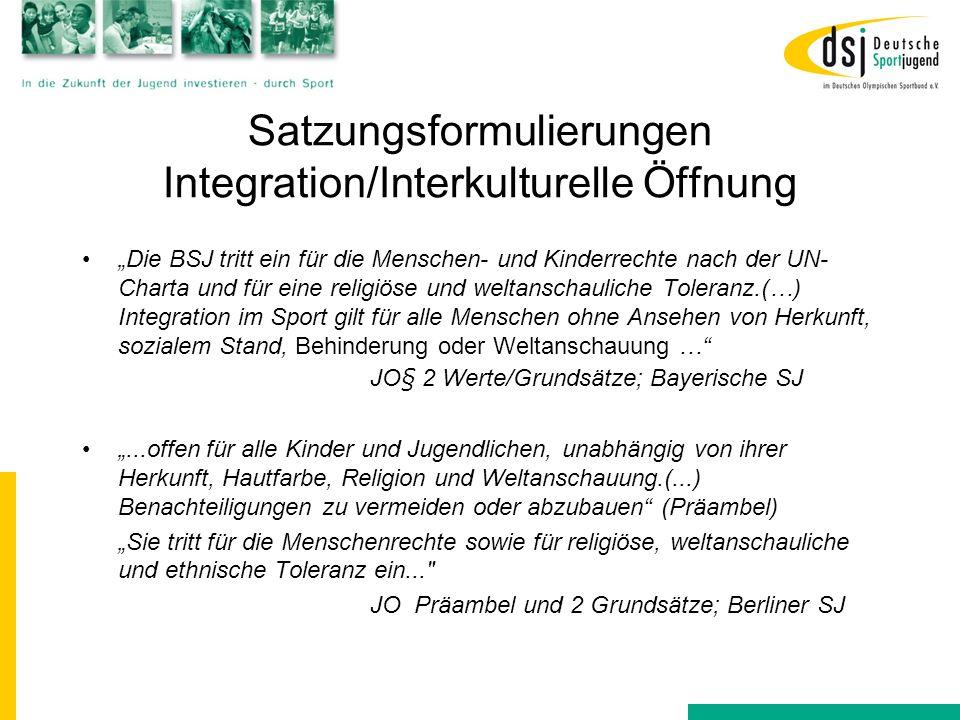 """Satzungsformulierungen Integration/Interkulturelle Öffnung """"Die BSJ tritt ein für die Menschen- und Kinderrechte nach der UN- Charta und für eine reli"""