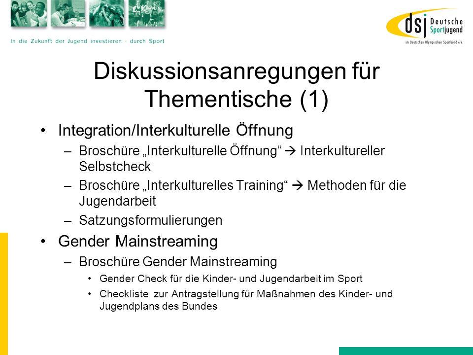 """Diskussionsanregungen für Thementische (1) Integration/Interkulturelle Öffnung –Broschüre """"Interkulturelle Öffnung""""  Interkultureller Selbstcheck –Br"""