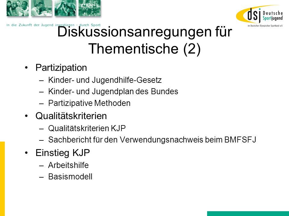 Diskussionsanregungen für Thementische (2) Partizipation –Kinder- und Jugendhilfe-Gesetz –Kinder- und Jugendplan des Bundes –Partizipative Methoden Qu