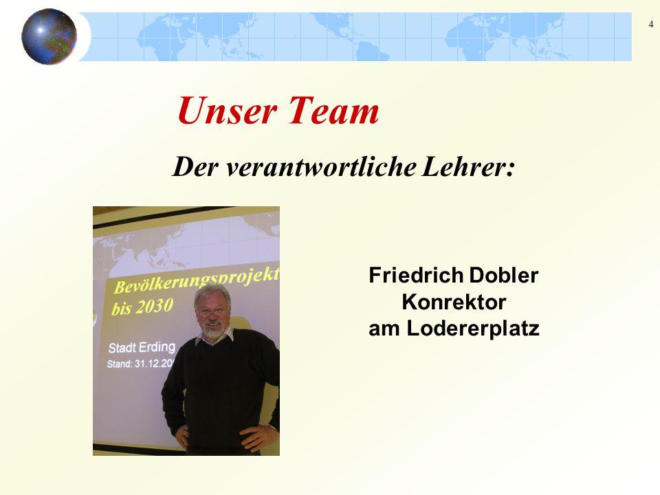 4 Der verantwortliche Lehrer: Friedrich Dobler Konrektor am Lodererplatz Unser Team