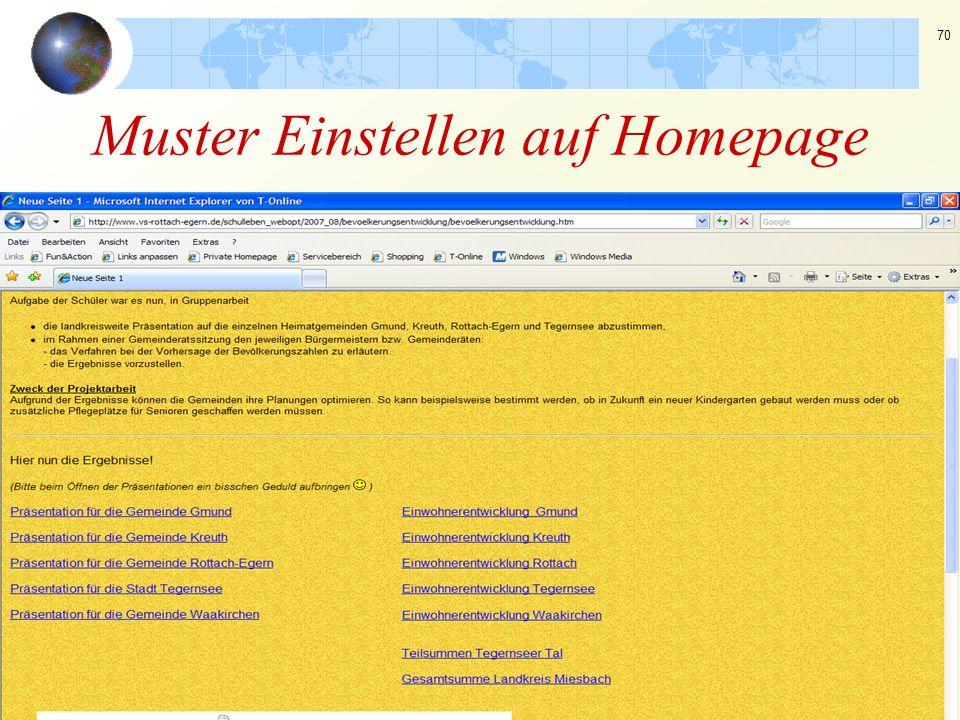 70 Muster Einstellen auf Homepage