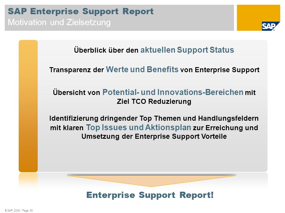 SAP Enterprise Support Report Motivation und Zielsetzung Überblick über den aktuellen Support Status Transparenz der Werte und Benefits von Enterprise