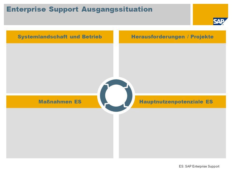 Hauptnutzenpotenziale ESMaßnahmen ES Enterprise Support Ausgangssituation Systemlandschaft und BetriebHerausforderungen / Projekte ES: SAP Enterprise