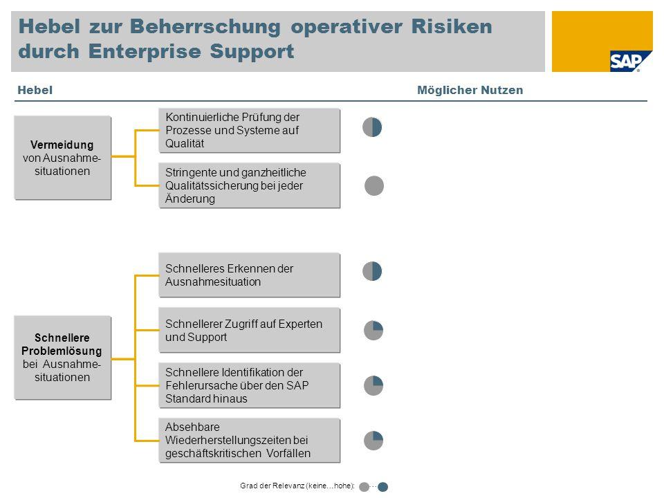Hebel zur Beherrschung operativer Risiken durch Enterprise Support Kontinuierliche Prüfung der Prozesse und Systeme auf Qualität Stringente und ganzhe