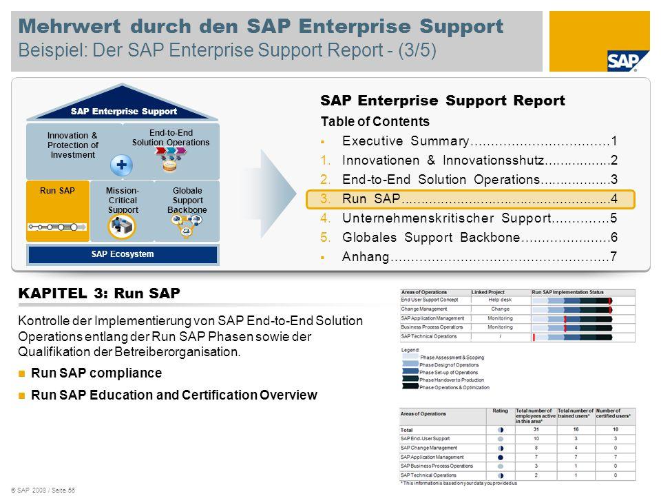 © SAP 2008 / Seite 56 Mehrwert durch den SAP Enterprise Support Beispiel: Der SAP Enterprise Support Report - (3/5) SAP Enterprise Support Report Tabl