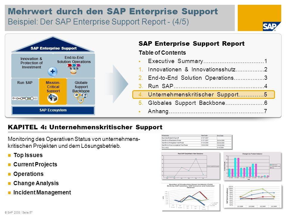 © SAP 2008 / Seite 57 Mehrwert durch den SAP Enterprise Support Beispiel: Der SAP Enterprise Support Report - (4/5) SAP Enterprise Support Report Tabl