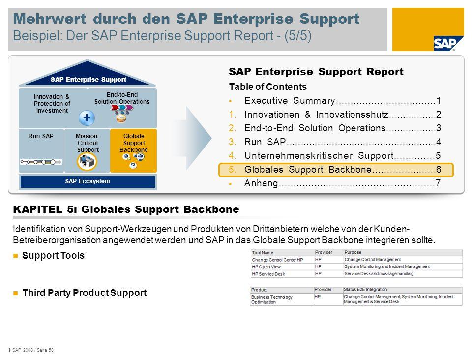 © SAP 2008 / Seite 58 Mehrwert durch den SAP Enterprise Support Beispiel: Der SAP Enterprise Support Report - (5/5) SAP Enterprise Support Report Tabl