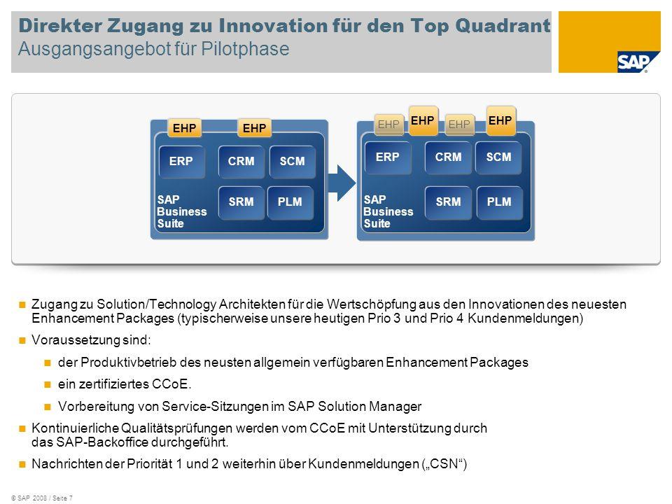 © SAP 2008 / Seite 7 Direkter Zugang zu Innovation für den Top Quadrant Ausgangsangebot für Pilotphase Zugang zu Solution/Technology Architekten für d