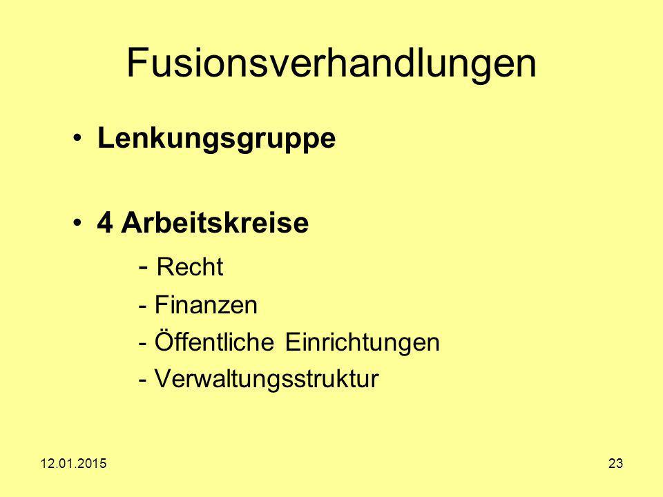 Fusionsverhandlungen Lenkungsgruppe 4 Arbeitskreise - Recht - Finanzen - Öffentliche Einrichtungen - Verwaltungsstruktur 12.01.201523