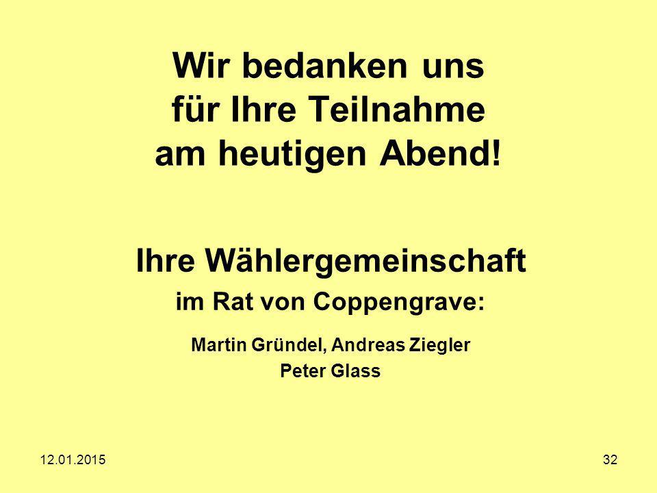 Wir bedanken uns für Ihre Teilnahme am heutigen Abend! Ihre Wählergemeinschaft im Rat von Coppengrave: Martin Gründel, Andreas Ziegler Peter Glass 12.
