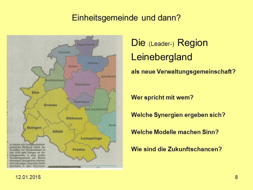 12.01.20158 Einheitsgemeinde und dann? Die (Leader-) Region Leinebergland als neue Verwaltungsgemeinschaft? Wer spricht mit wem? Welche Synergien erge