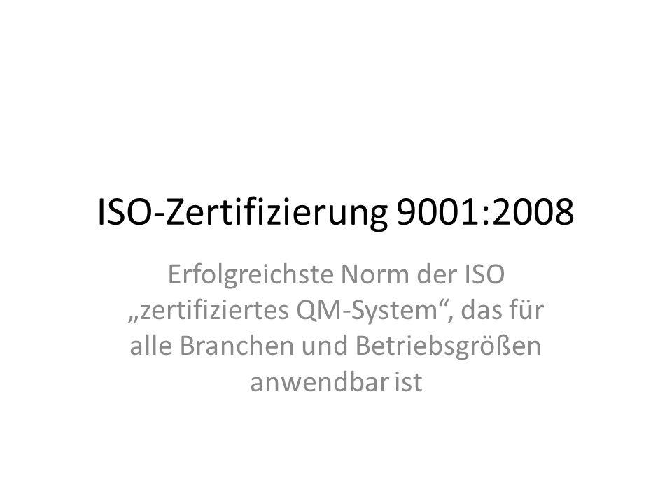 """ISO-Zertifizierung 9001:2008 Erfolgreichste Norm der ISO """"zertifiziertes QM-System , das für alle Branchen und Betriebsgrößen anwendbar ist"""