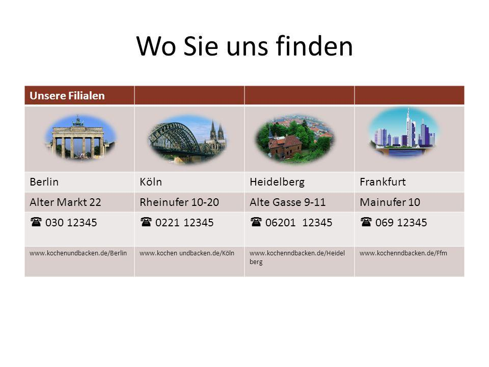 Wo Sie uns finden Unsere Filialen BerlinKölnHeidelbergFrankfurt Alter Markt 22Rheinufer 10-20Alte Gasse 9-11Mainufer 10  030 12345  0221 12345  06201 12345  069 12345 www.kochenundbacken.de/Berlinwww.kochen undbacken.de/Kölnwww.kochenndbacken.de/Heidel berg www.kochenndbacken.de/Ffm