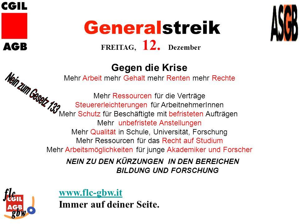 Generalstreik FREITAG, 12.