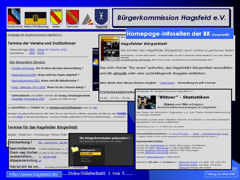 .......................... Doku-Teilabschnitt: 1 von 5...... 10 http://www.hagsfeld.de/ Freitag, 06. März 2009 Homepage-Infoseiten der BK (Ausschnitt)