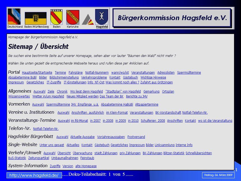 .......................... Doku-Teilabschnitt: 1 von 5...... 11 http://www.hagsfeld.de/ Freitag, 06. März 2009 Homepage-Startseite der BK