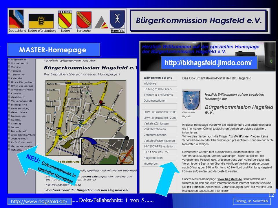 .......................... Doku-Teilabschnitt: 1 von 5...... 12 http://www.hagsfeld.de/ Freitag, 06. März 2009 NEU: Dokumentationen in spezieller Home