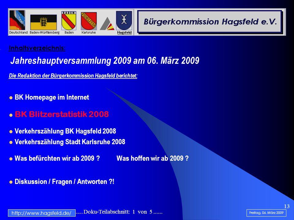 .......................... Doku-Teilabschnitt: 1 von 5...... 13 Inhaltsverzeichnis: Jahreshauptversammlung 2009 am 06. März 2009 Die Redaktion der Bür