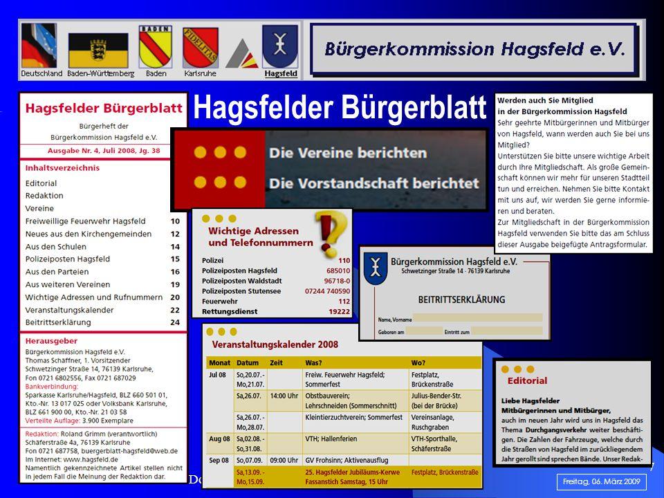 .......................... Doku-Teilabschnitt: 1 von 5...... 7 Hagsfelder Bürgerblatt Freitag, 06. März 2009