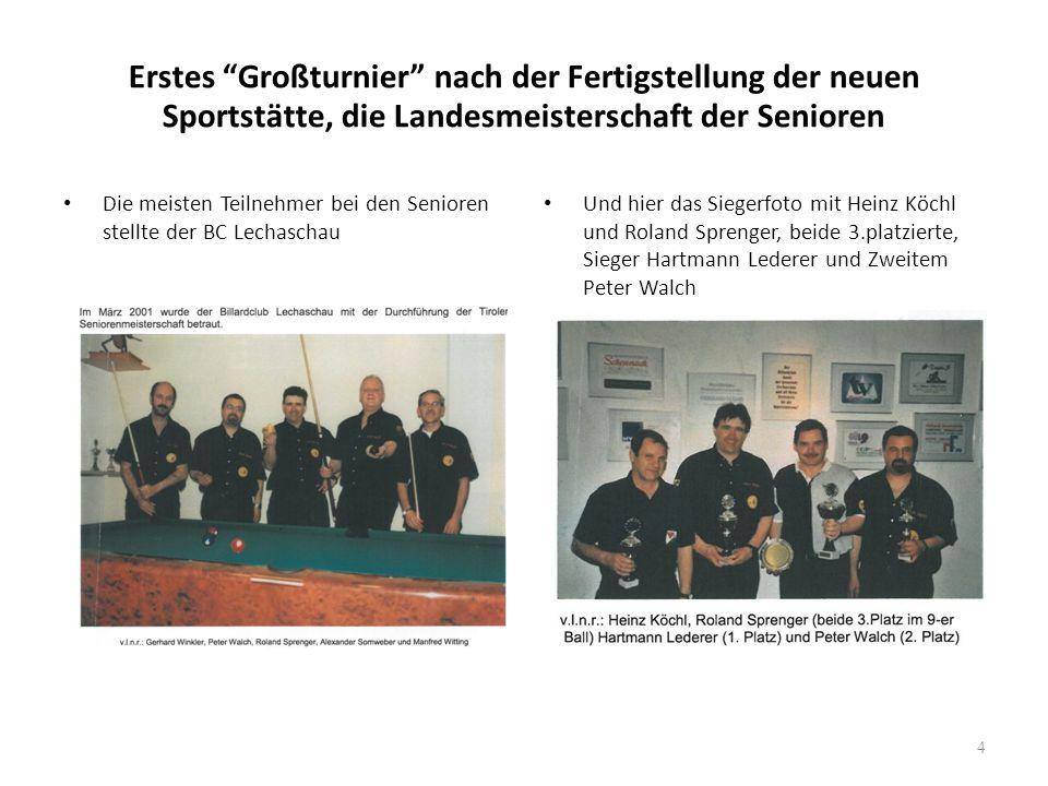 """Erstes """"Großturnier"""" nach der Fertigstellung der neuen Sportstätte, die Landesmeisterschaft der Senioren Die meisten Teilnehmer bei den Senioren stell"""