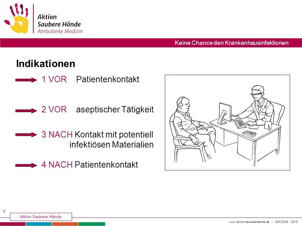 1 VOR Patientenkontakt 2 VOR aseptischer Tätigkeit 3 NACH Kontakt mit potentiell infektiösen Materialien 4 NACH Patientenkontakt Indikationen 7 www.ak