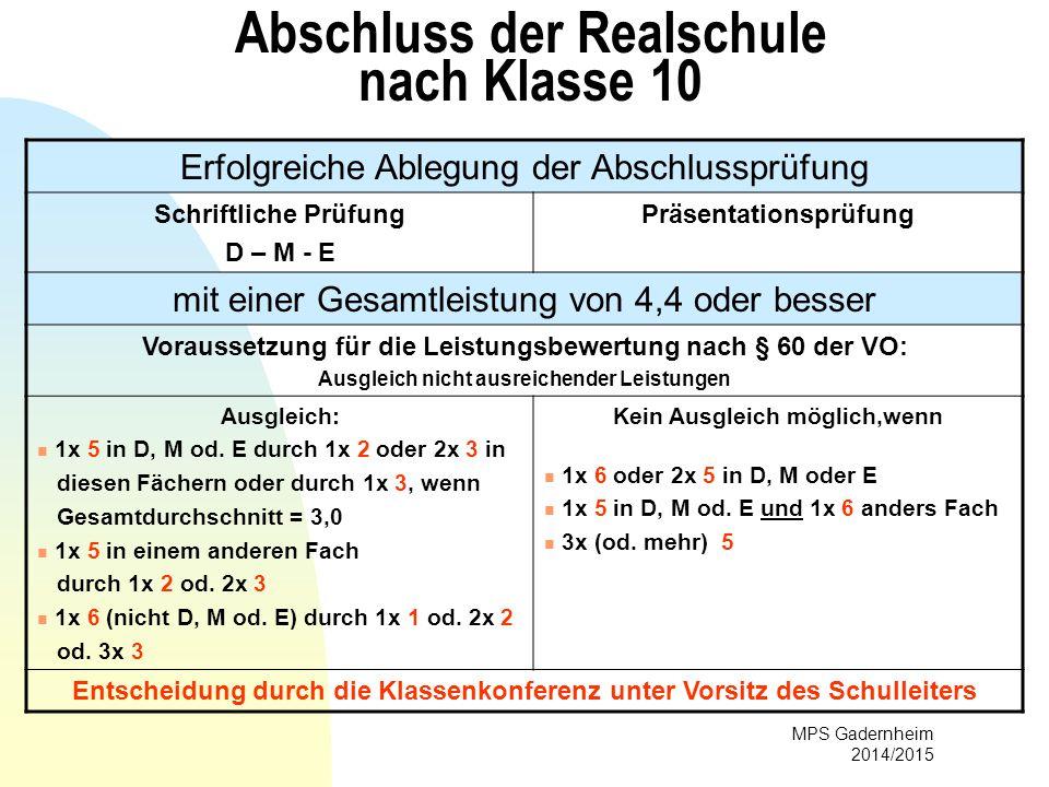 MPS Gadernheim 2014/2015 Abschluss der Realschule nach Klasse 10 Erfolgreiche Ablegung der Abschlussprüfung Schriftliche Prüfung D – M - E Präsentatio