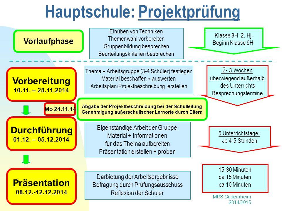 MPS Gadernheim 2014/2015 Hauptschule: Projektprüfung Vorbereitung 10.11. – 28.11.2014 Durchführung 01.12. – 05.12.2014 Präsentation 08.12.-12.12.2014