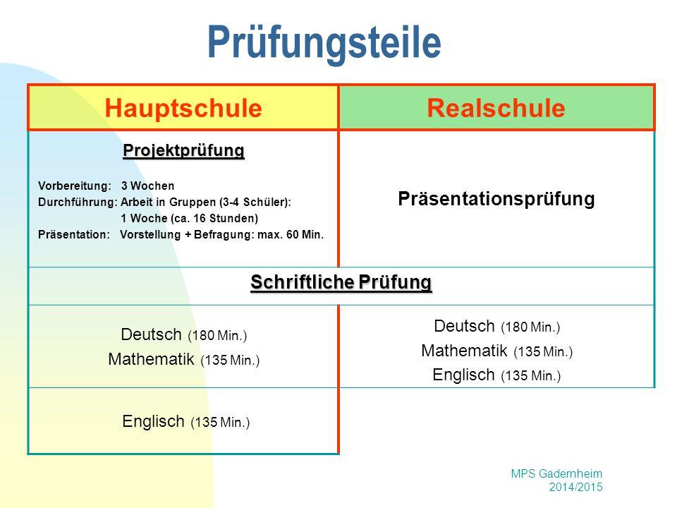 MPS Gadernheim 2014/2015 Prüfungsteile HauptschuleRealschule Projektprüfung Vorbereitung: 3 Wochen Durchführung: Arbeit in Gruppen (3-4 Schüler): 1 Wo