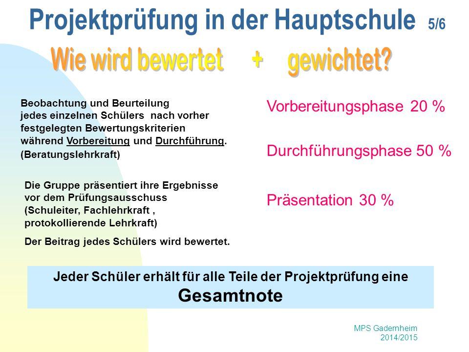 MPS Gadernheim 2014/2015 Projektprüfung in der Hauptschule 5/6 Beobachtung und Beurteilung jedes einzelnen Schülers nach vorher festgelegten Bewertung