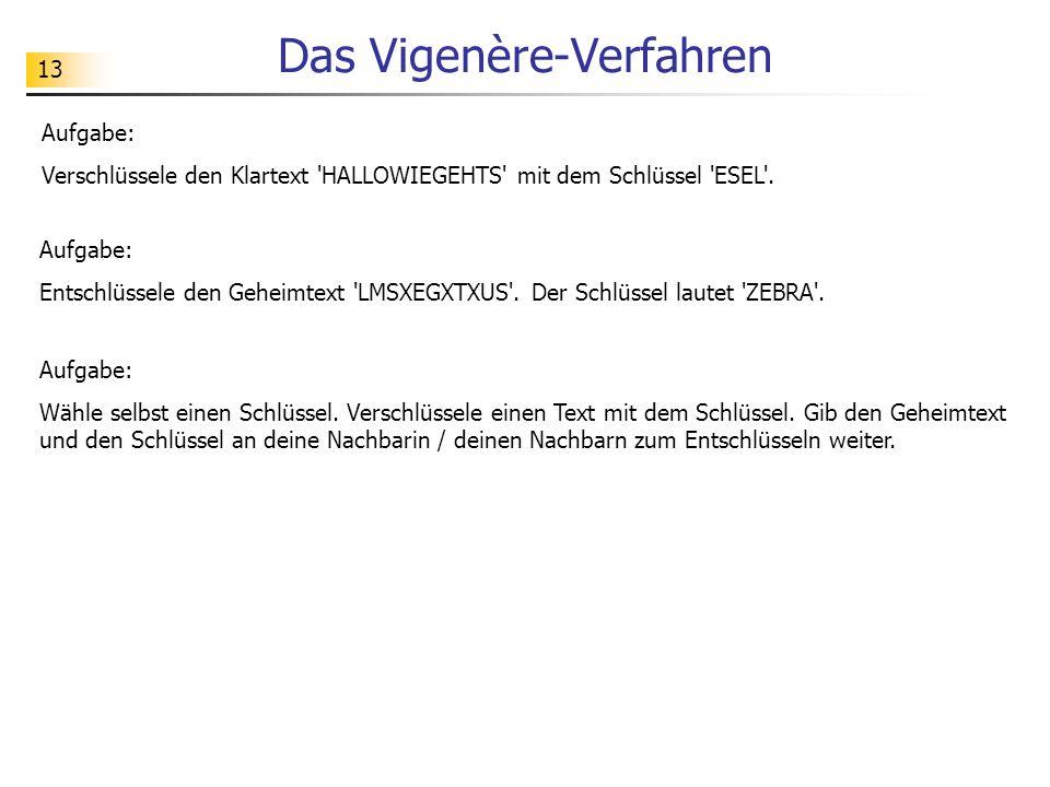 13 Das Vigenère-Verfahren Aufgabe: Verschlüssele den Klartext 'HALLOWIEGEHTS' mit dem Schlüssel 'ESEL'. Aufgabe: Entschlüssele den Geheimtext 'LMSXEGX