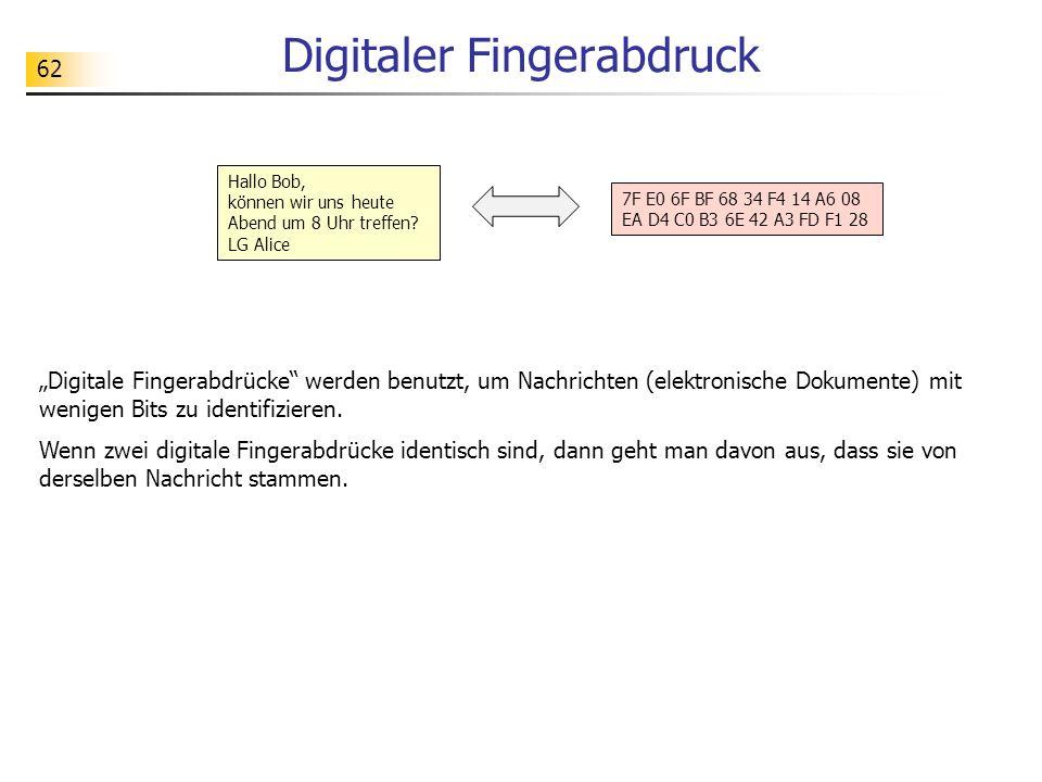"""62 Digitaler Fingerabdruck """"Digitale Fingerabdrücke werden benutzt, um Nachrichten (elektronische Dokumente) mit wenigen Bits zu identifizieren."""