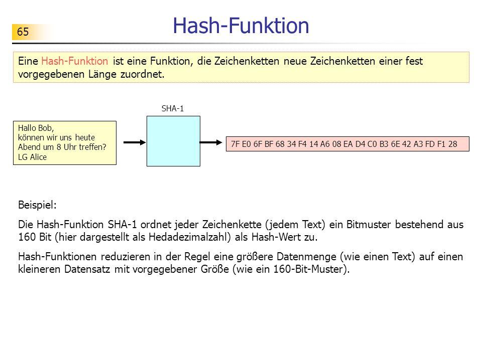 65 Hash-Funktion Eine Hash-Funktion ist eine Funktion, die Zeichenketten neue Zeichenketten einer fest vorgegebenen Länge zuordnet. Hallo Bob, können