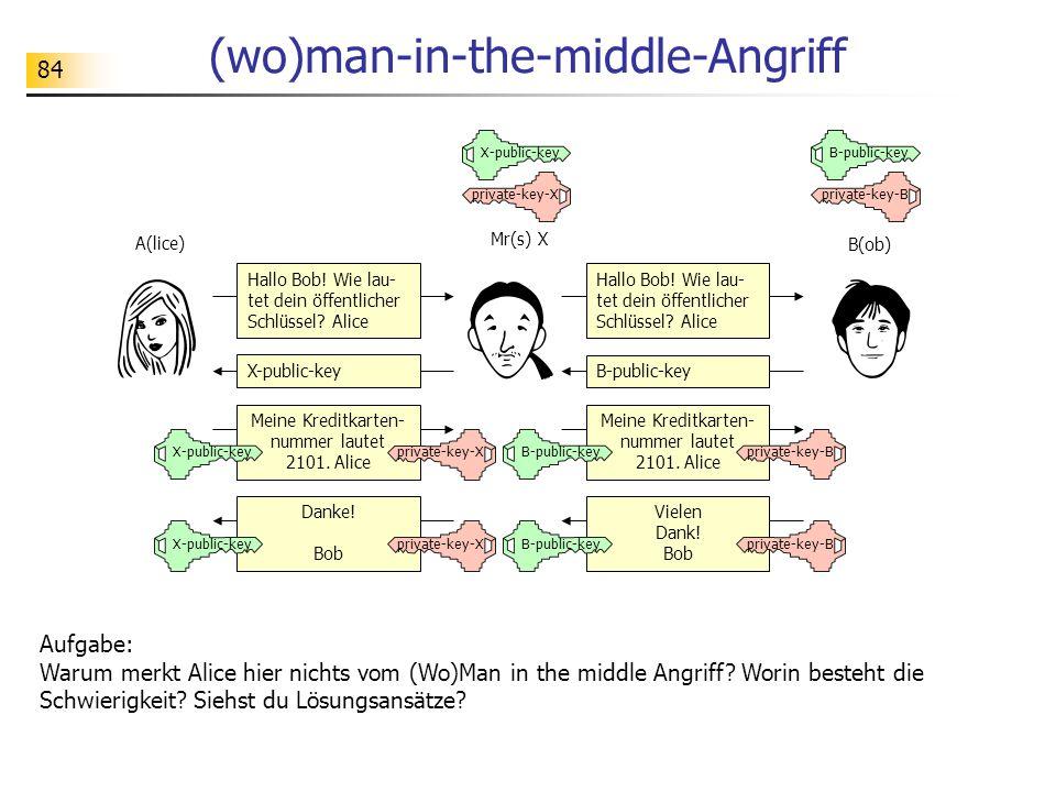 84 (wo)man-in-the-middle-Angriff Aufgabe: Warum merkt Alice hier nichts vom (Wo)Man in the middle Angriff? Worin besteht die Schwierigkeit? Siehst du