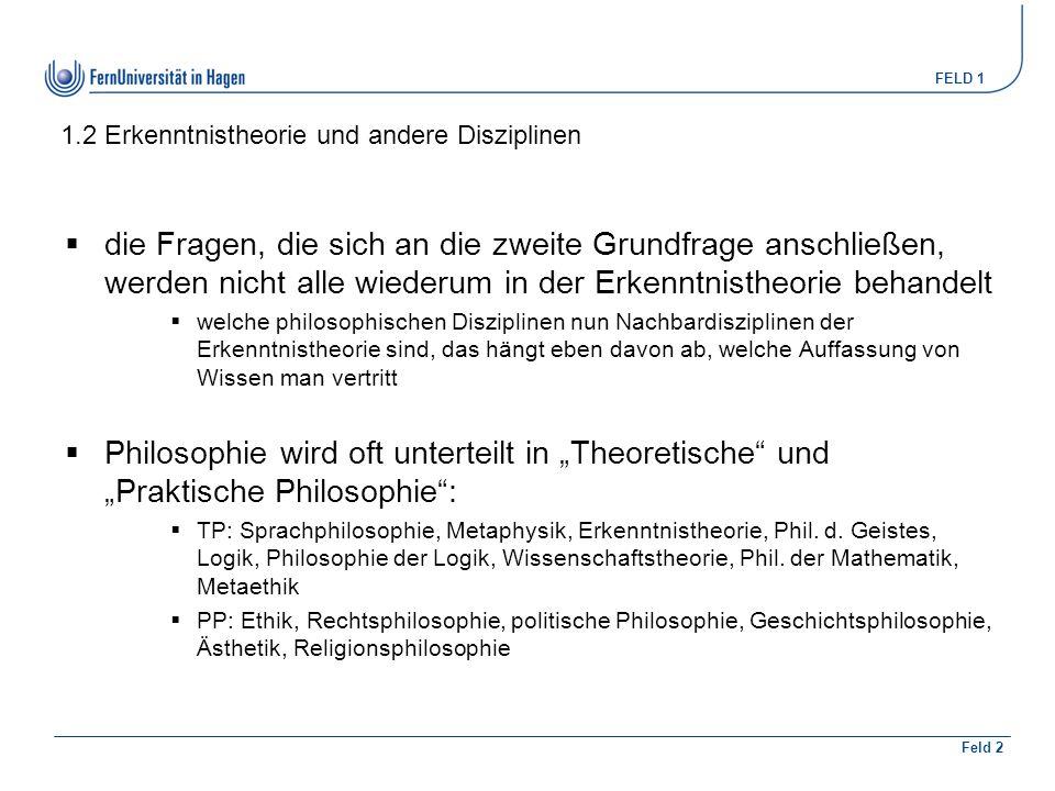 """FELD 1 Feld 2 3.1 Begriffsanalyse  es ist klar, dass bei dieser Methode unsere Reaktion auf die Beispiele entscheidend ist – was """"wir sagen würden  """"unsere Reaktion und """"was wir sagen würden – mit """"wir und """"uns sind nicht ausgebildete Philosophen gemeint, sondern alle kompetenten Sprecher des Deutschen  jeder, der Deutsch (oder eine andere Sprache) spricht, kann dabei mitmachen  man braucht nur Sprachkompetenz  zusätzlich vonnöten: eine gute sprachliche Vorstellungskraft; geschärftes Bewusstsein dafür, welche Unterschiede es geben kann, sowie gute Fähigkeit, auf das eigene Sprachvermögen zu achten  die philosophische Untersuchungsweise ist eine begriffliche, keine empirische, wie in den Einzelwissenschaften"""