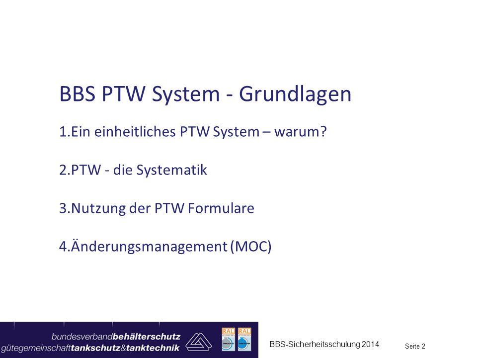 BBS-Sicherheitsschulung 2014 Seite 2 BBS PTW System - Grundlagen 1.Ein einheitliches PTW System – warum? 2.PTW - die Systematik 3.Nutzung der PTW Form