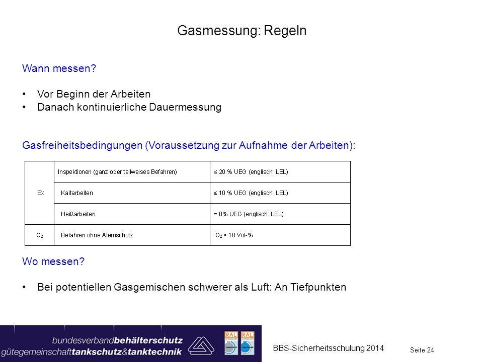 BBS-Sicherheitsschulung 2014 Seite 24 Gasmessung: Regeln Wann messen? Vor Beginn der Arbeiten Danach kontinuierliche Dauermessung Gasfreiheitsbedingun