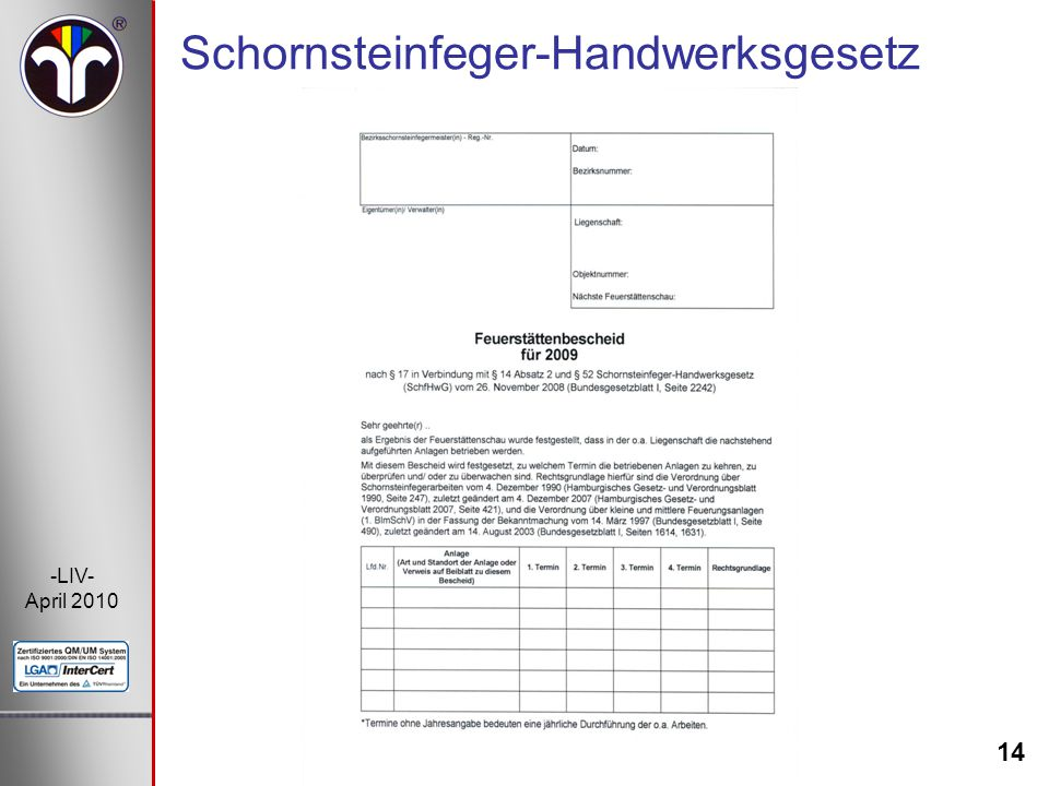 14 -LIV- April 2010 Schornsteinfeger-Handwerksgesetz